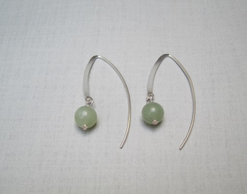 Jade Earrings Sterling silver, modern structure.